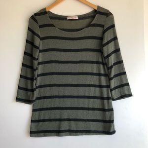 Chris & Carol Olive Green Back Striped Sweater